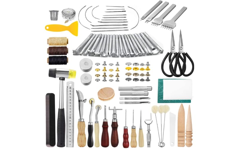 a set of leather embossing stamps, sewing tools, burnishing tools, waxed yarns, and other leatherwork tools