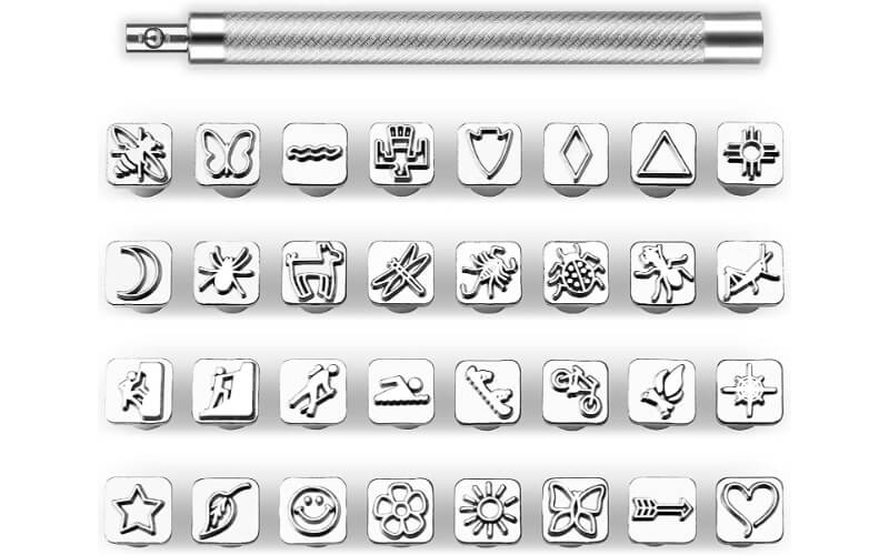a set of stamps with random designs and its punch