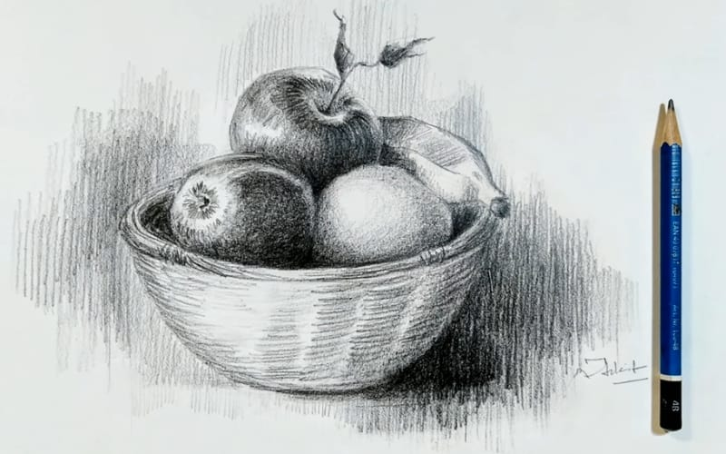 A still-life drawing of fruits in a fruit basket - Image by Artist Ankit Jastamiya
