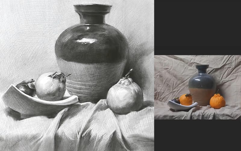 A still-life study of an earthen jar and fruits - Image by Fine Art Academy