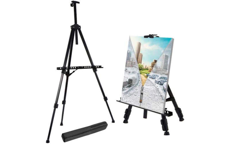 adjustable easel showing full and shorter height