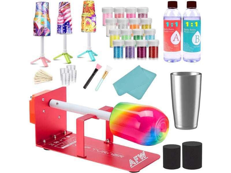 Alter Epoxy, Tumbler & Cut Turner Kit (Metal) kit with glitters, tumbler, drying stand, and tools