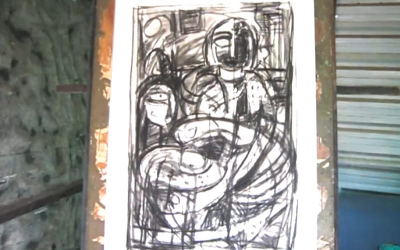 An abstract drawing using charcoal - Image by DhakshnaArts