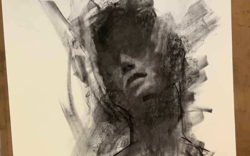 An abstract portrait in charcoal - Image by Mad Charcoal