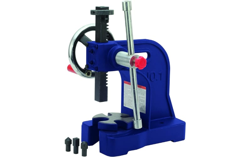an image of a blue arbor press with black hardened carbon parts and stainless steel handle and crank wheel