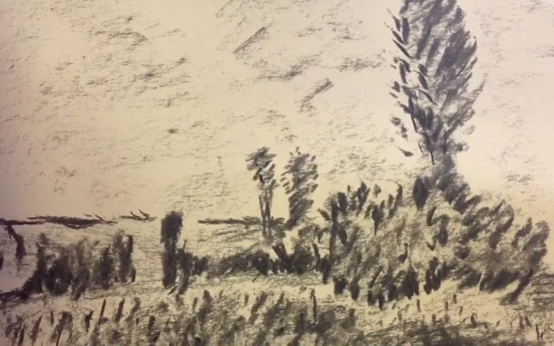 An impressionistic drawing of a meadow - Image by 5-Minute Art Lessons