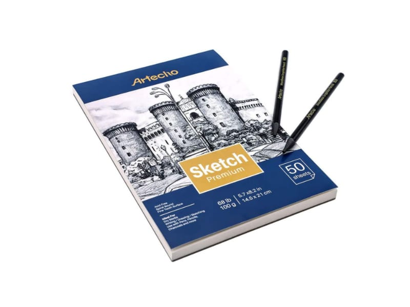 Artecho woodless sketch pencils with the free sketch book