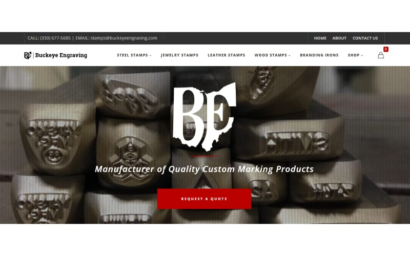 Buckeye Engraving website showing a stack of metal stamps for leather stamping