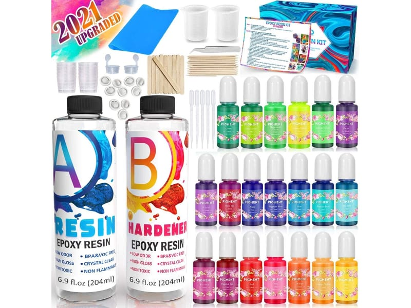 Catcrafter Crystal Clear Epoxy Tumbler Kit with color pigments, silicone mat, and supplies