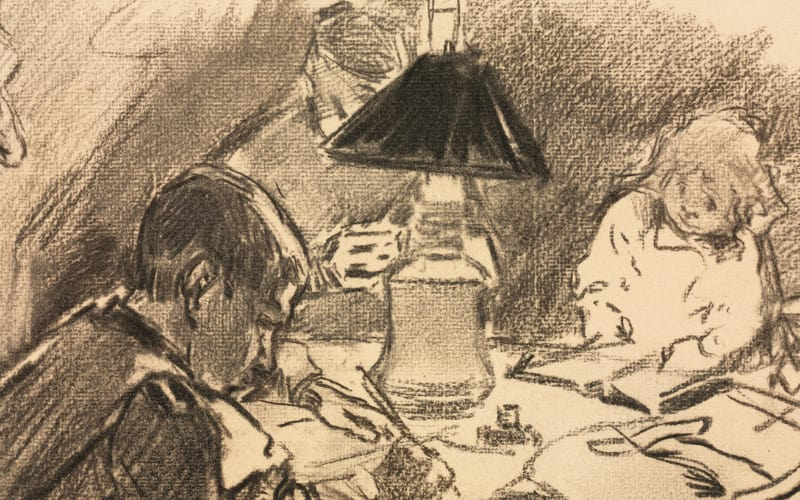 a charcoal drawing of a family studying on a table around a lamp