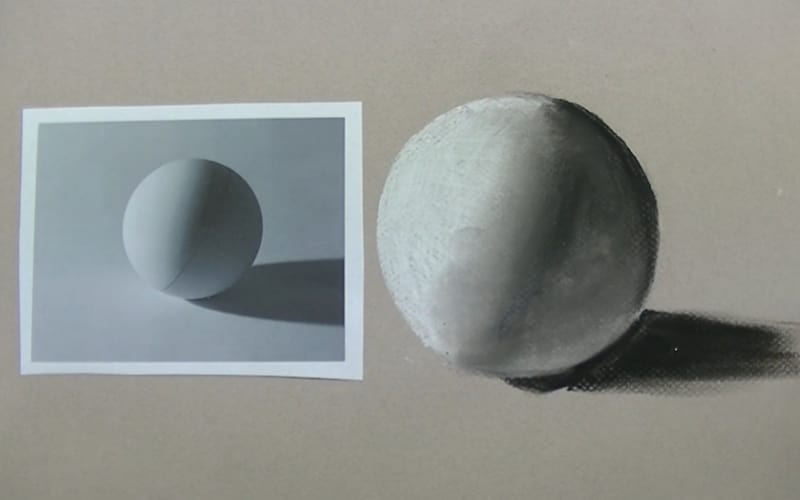 Charcoal drawing of a sphere - Image by Jeffrey Gillette