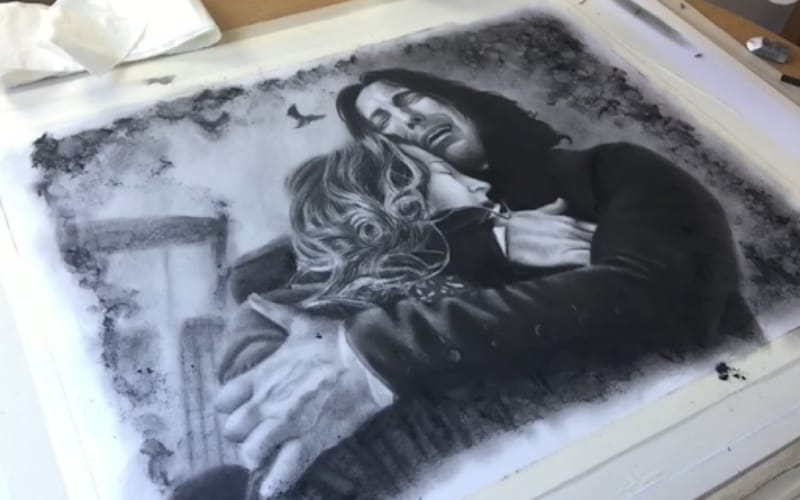 Charcoal fanart drawing of Snape and Lily - Image by Jon Arton