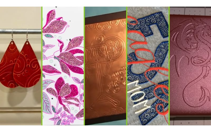collage showcasing different embossing techniques on various media