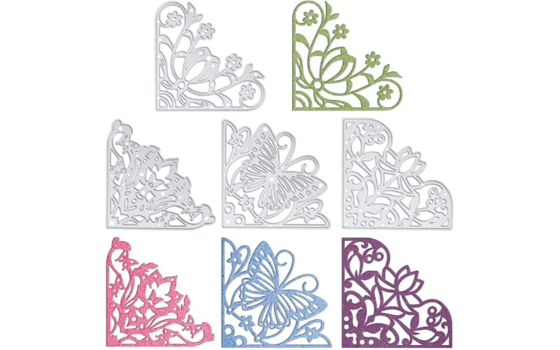 Corner lace cutting dies and their sample cuts