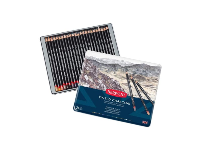 A Set of 24 Derwent's Tinted Colored Charcoal Pencils