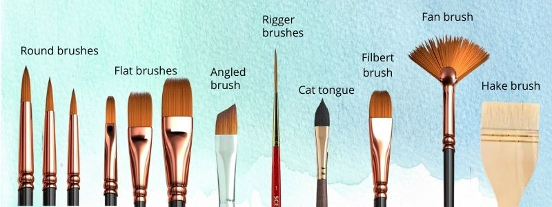 different kinds of watercolor brushes