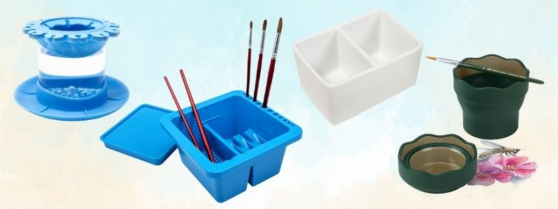 different kinds of watercolor washing containers