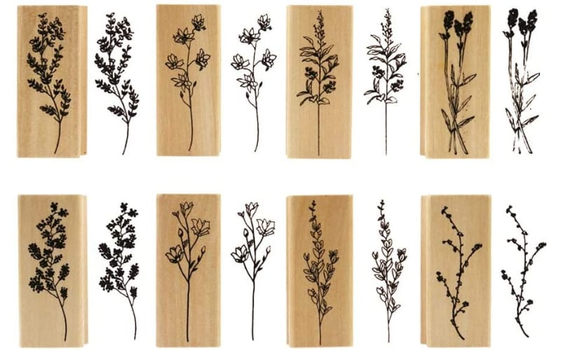 floral-themed mounted rubber stamps