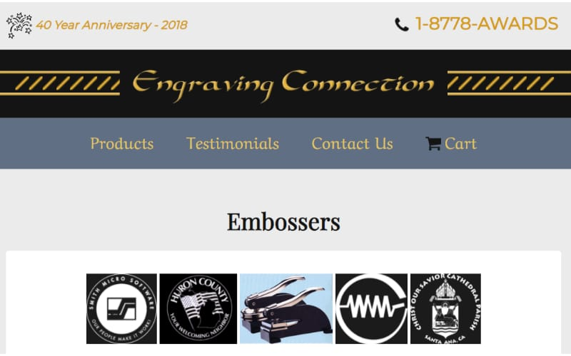 Engraving Connection website banner showing embossers and some of the logo inserts