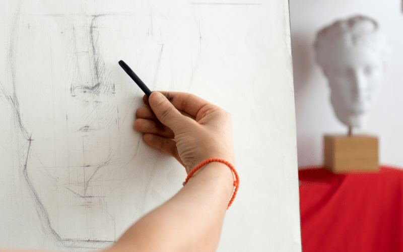 Hand Sketching on Easel