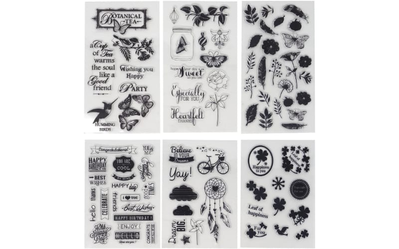 Floral, butterfly, St. Patrick's theme and sentiments stamps for various occasions