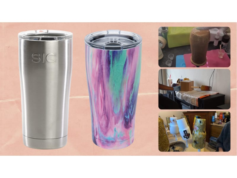 Several methods to transform a plain tumbler into art without a tumbler turner