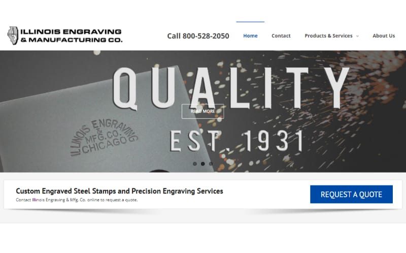 Illinois Engraving & Manufacturing Co website banner showing the primary value of the company