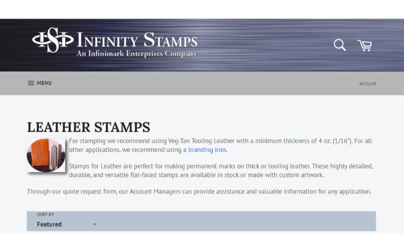 Infinity Stamps website banner showing the landing page for leather stamps