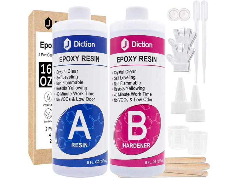 JDiction Epoxy Resin kit with mixing sticks, pipette, nozzles, measuring cup, and rubber gloves