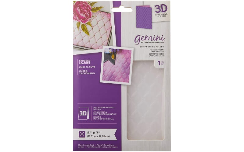a studded leather pattern 3D embossing folder in its original packaging