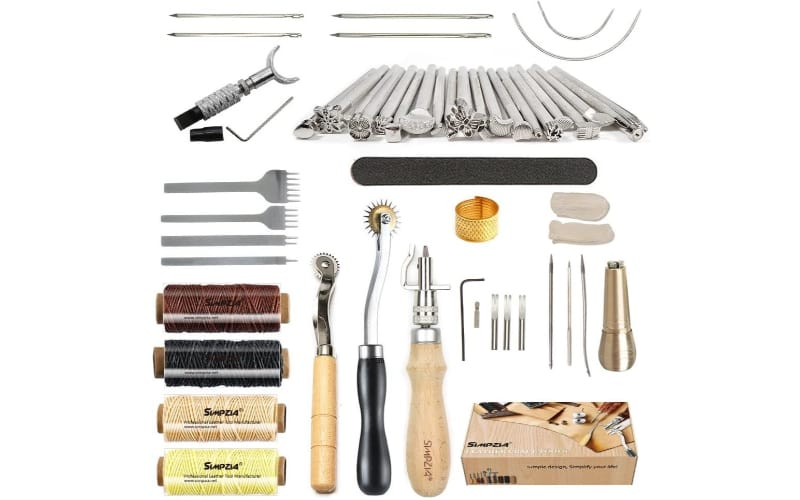 leather embossing and sewing tools and threads
