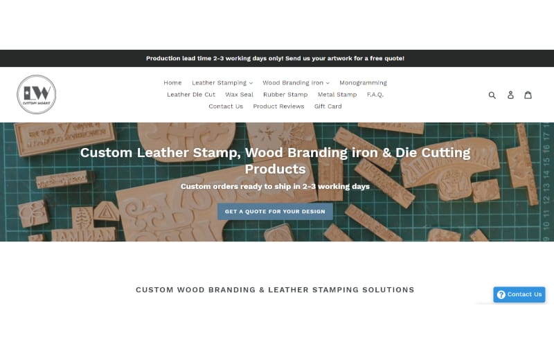 LW Leather website banner showing the services it offers