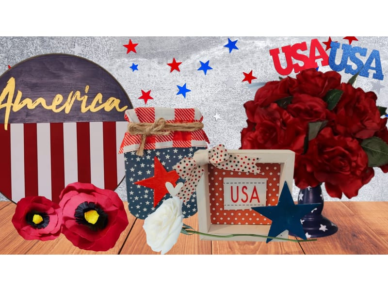 various Memorial Day paper crafts arranged on a table with a star backdrop