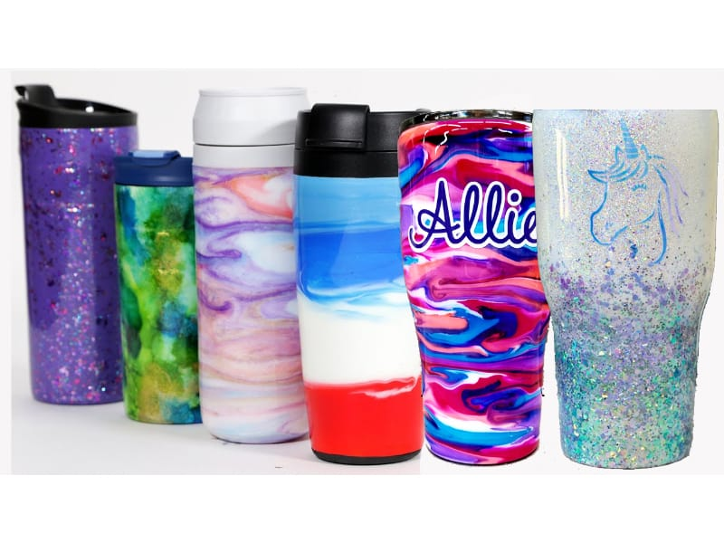 Various epoxy tumblers with glitters and colorful designs