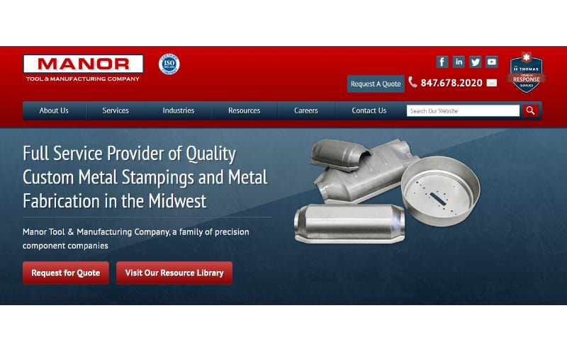 Manor Tools website banner showing its services and fabricated metal products
