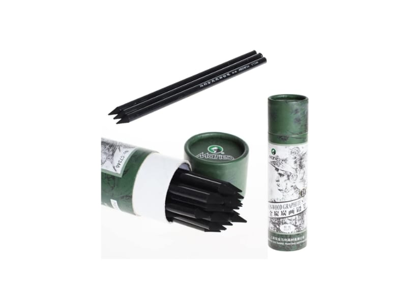 Marie's 24-piece paper wrapped charcoal pencil set in a paper tube case