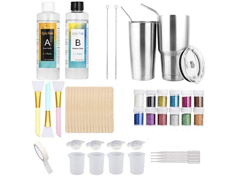 Osbang Epoxy Resin Tumbler Kit with measuring cup, glitters, tumblers, and supplies