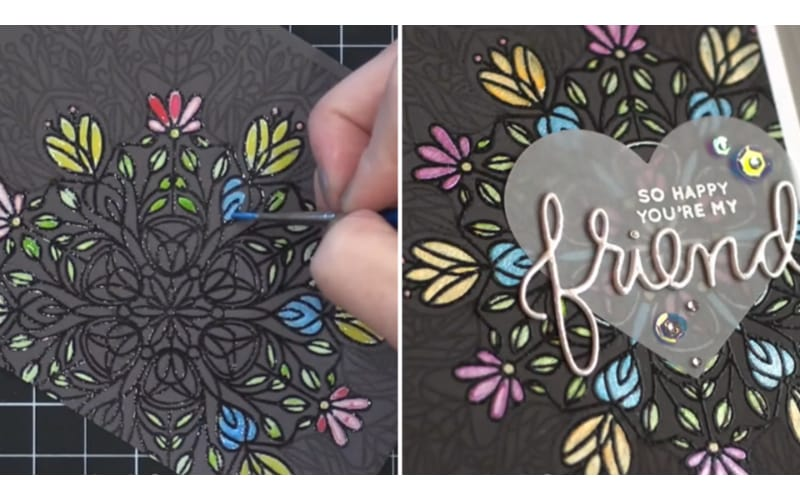 partial embossed card background vs. the finished card