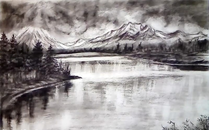 Riverscape against a mountain range and cloudy skies - Image by Fancy's Art