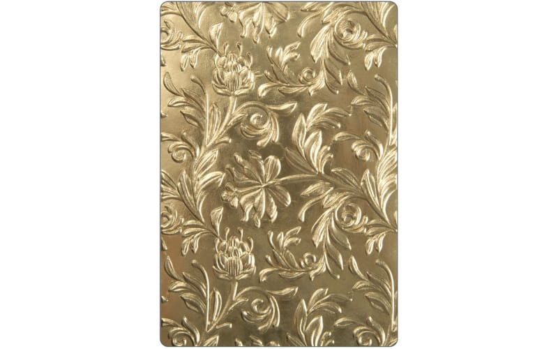 Sizzix 3D botanicals embossing folder in gold-colored plastic material