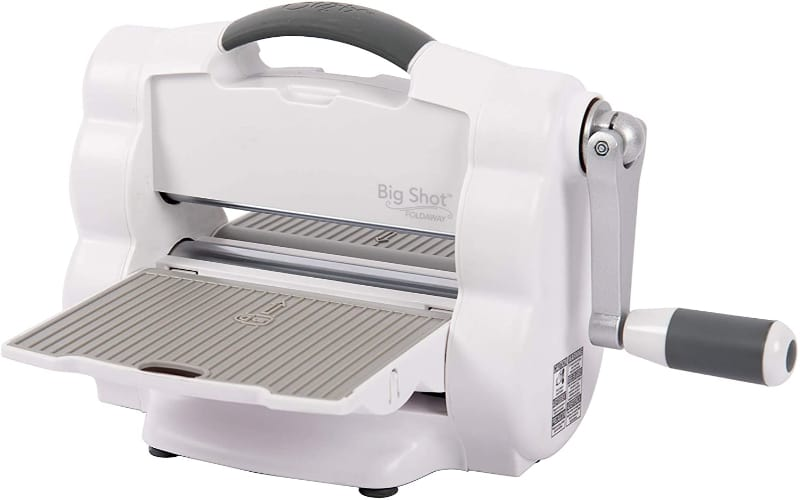 Sizzix Big Shot Foldaway in gray and white with an open platform
