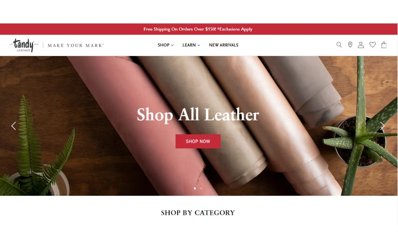 Tandy Leather website banner showing several rolls of leather