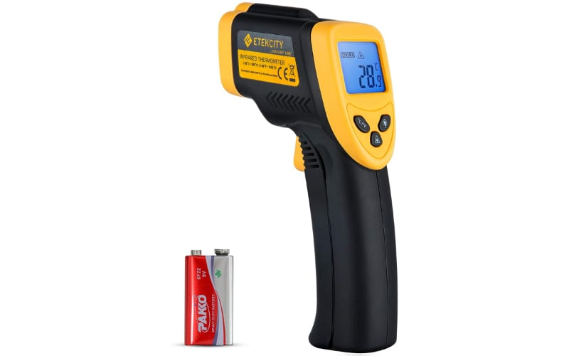 A black and yellow thermal gun with its free 9-volt battery