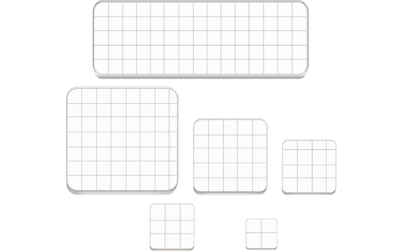 Various sizes of acrylic stamp blocks with even sides and grids