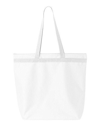 Ultraclub 8802 Zippered Tote White One Size