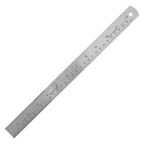 Pacific Arc 12 Inch Stainless Steel Ruler with Inch/Metric Conversion Table