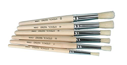 School Specialty 462062 Natural Stencil Brushes, Fine, Assorted Sizes, Set of 6