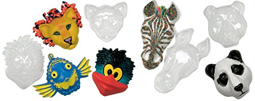 Roylco Make-A-Mask Multi-Cultural Animal Mask Set, Plastic, 8 x 6-1/2 x 2-1/2 Inches, Clear, Set of 5