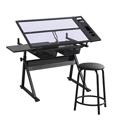 Glass Drafting Table, Height Adjustable Drawing Desk with Stool, Tiltable Desk Art Table, Tempered Glass Top Painting Desk, Writing Table with 2 Drawers, Stationery Storage for Artist Adults Kids