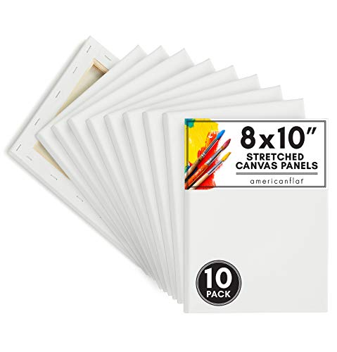 Americanflat 10 Piece 8x10 Pre Stretched Painting Canvas Panels with Wooden Frame - Cotton Canvas Boards for Painting